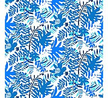 Floral pattern with tropical leaves and flowers in blue Photographic Print