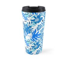 Floral pattern with tropical leaves and flowers in blue Travel Mug