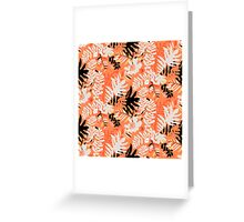 Floral pattern with tropical leaves and flowers in coral pink Greeting Card