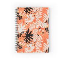 Floral pattern with tropical leaves and flowers in coral pink Spiral Notebook
