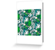 Floral pattern with tropical leaves and flowers in green Greeting Card
