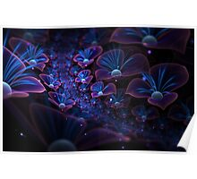 Avatar blue fractal glowing flowers Poster