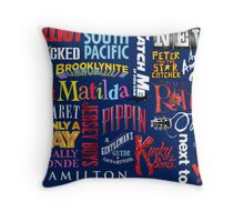 Navy Musical Title Collage  Throw Pillow