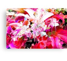 hot pink and red floral design Canvas Print