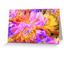 Bright yellow purple floral design Greeting Card