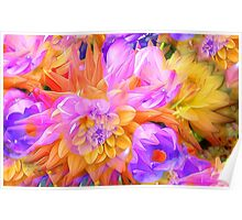 Bright yellow purple floral design Poster