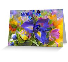 blue purple floral design Greeting Card