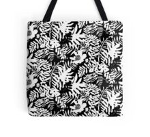 Floral pattern with tropical leaves and flowers in black and white Tote Bag