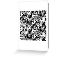 Floral pattern with tropical leaves and flowers in black and white Greeting Card