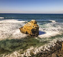 WAVES AROUND THE ROCK by joseph s  giacalone