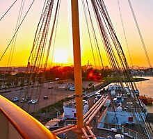 Queen Mary Sunset Over the Bow by kuumbalion