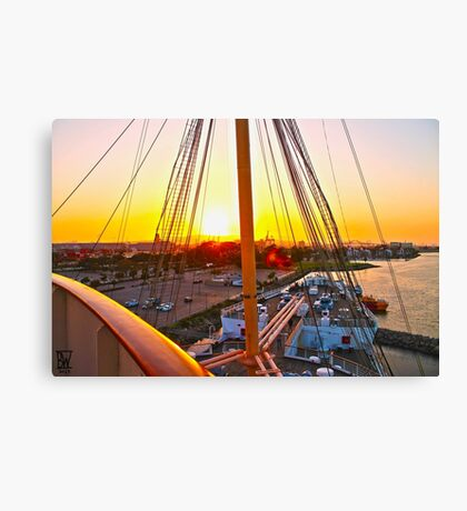 Queen Mary Sunset Over the Bow Canvas Print