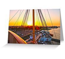 Queen Mary Sunset Over the Bow Greeting Card