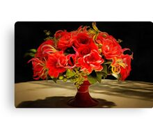 Red flowers still life painting Canvas Print