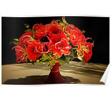 Red flowers still life painting Poster