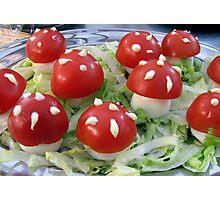 Op een rode paddenstoel.... Photographic Print