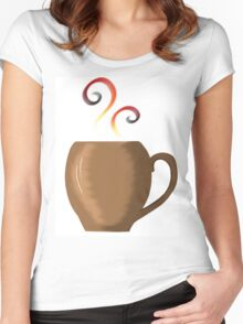 Brown cup of fresh coffee or tea Women's Fitted Scoop T-Shirt