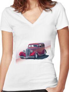 1934 Ford Victoria Sedan I Women's Fitted V-Neck T-Shirt