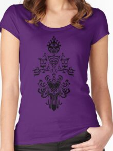 Haunted Mansion Wallpaper Design                         Women's Fitted Scoop T-Shirt