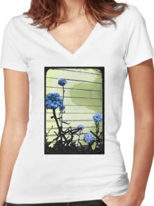 blue carnations Women's Fitted V-Neck T-Shirt