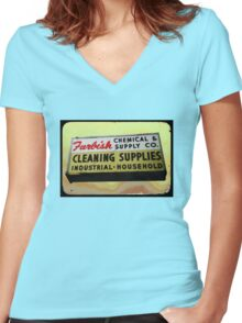 furbish cleaners Women's Fitted V-Neck T-Shirt