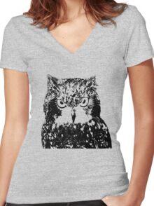 Owl Eyes Women's Fitted V-Neck T-Shirt