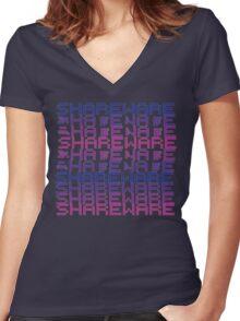 Vaporwave-Shareware Women's Fitted V-Neck T-Shirt