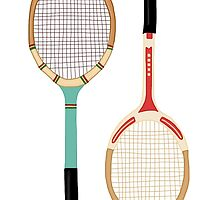 Vintage Tennis Rackets by meghandulaney