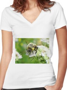 Bumble bee on white flower Women's Fitted V-Neck T-Shirt
