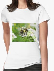 Bumble bee on white flower Womens Fitted T-Shirt