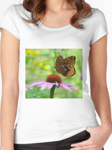 Beautiful butterfly on flower Women's Fitted Scoop T-Shirt