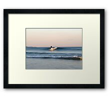 Lone Surfer at Dusk Framed Print