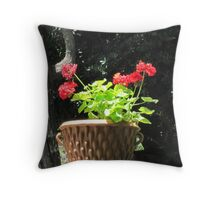 Red Geraniums Throw Pillow