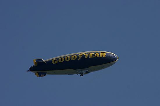 Goodyear blimp..Flying in a blue dream by jammingene