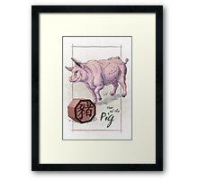 Chinese Zodiac - the Pig Framed Print
