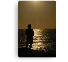 Sunset Fishing Silhouette I Canvas Print