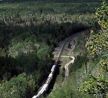 Train at the Kama Mountain over look - Nipiogon Bay, Ontario by loralea