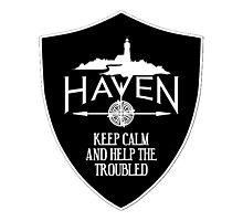 Haven Keep Calm Black Badge Logo Photographic Print