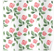 Romantic flowers. Hand drawn floral pattern. Seamless 2 Poster