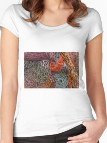 Discarded fishing nets detail Women's Fitted Scoop T-Shirt