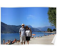 The happy couple on the edge of Lake Como, Italy Poster