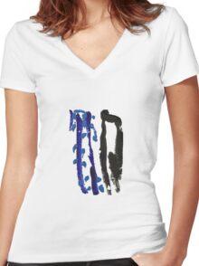 Black & Blue Women's Fitted V-Neck T-Shirt