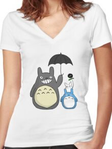 Totoro family Women's Fitted V-Neck T-Shirt