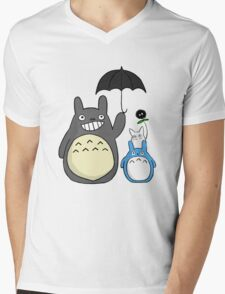 Totoro family Mens V-Neck T-Shirt