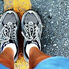 Early to Rise-- running shoes on pavement by homemadeinchina