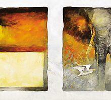 Elephant, Egret Sunset  by Pieter  Zaadstra