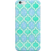 Moroccan Aqua Doodle pattern in mint green, blue & white iPhone Case/Skin