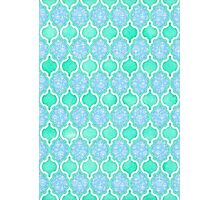 Moroccan Aqua Doodle pattern in mint green, blue & white Photographic Print