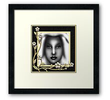 Those Eyes Enhanced With Classic Flower Frame Framed Print