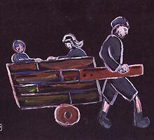 Boy pulling a cart by sword
